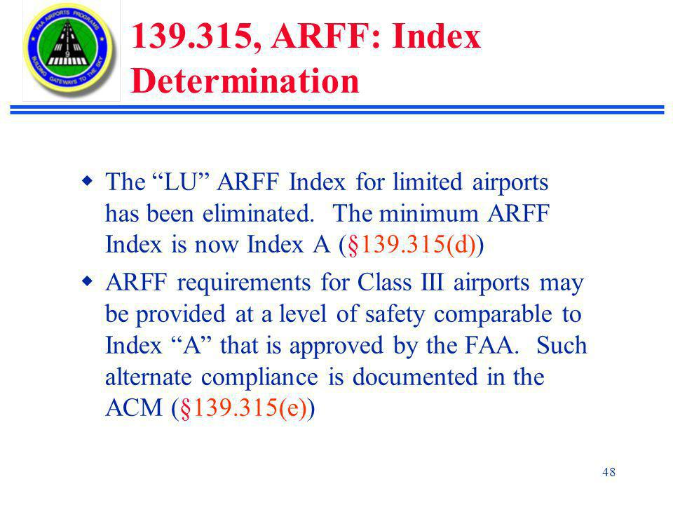 139.315, ARFF: Index Determination