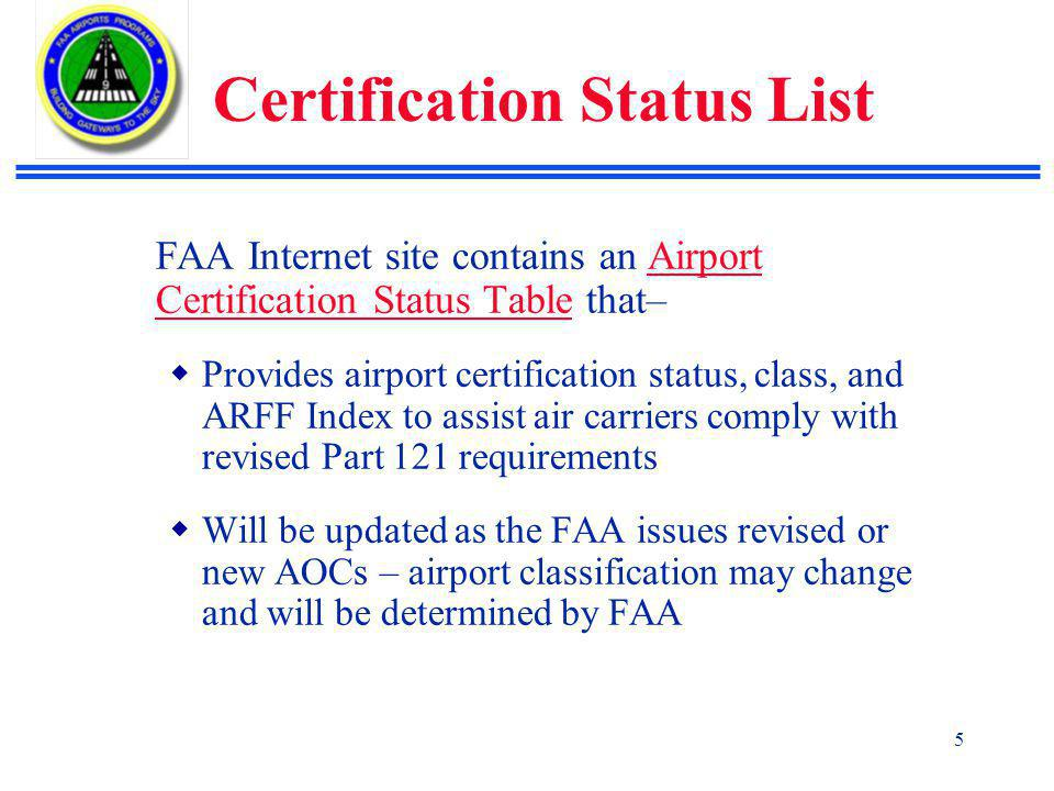 Certification Status List