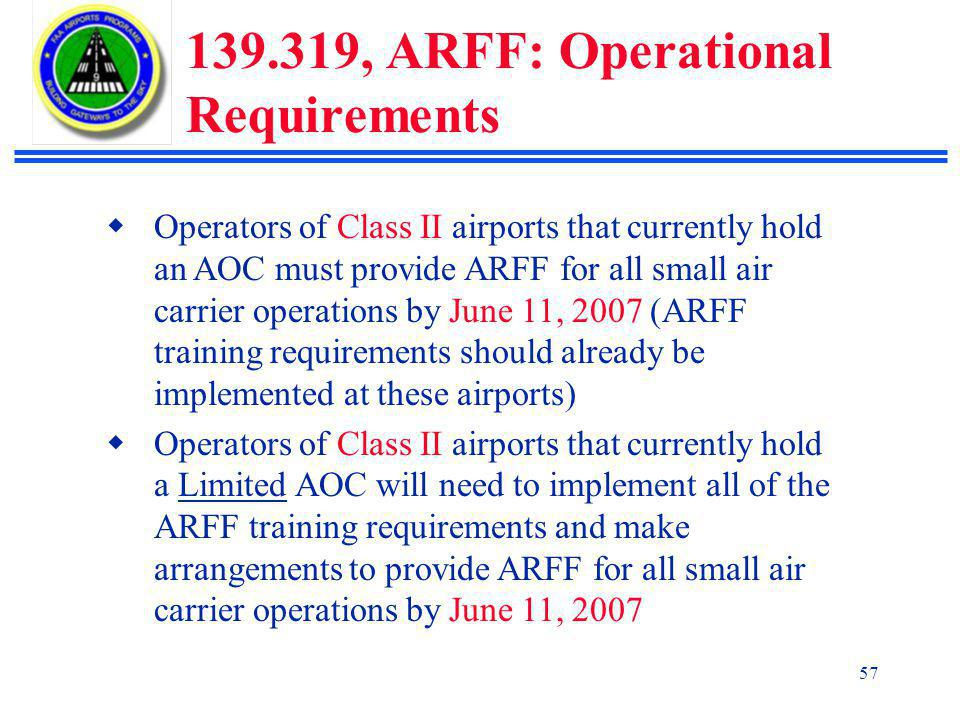 139.319, ARFF: Operational Requirements