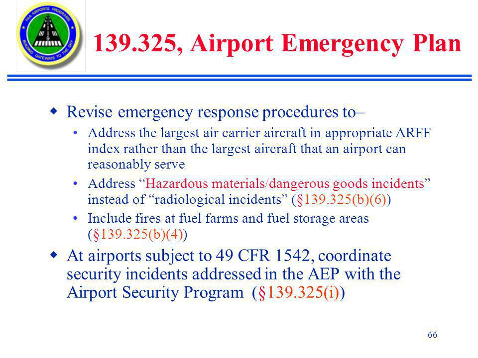 139.325, Airport Emergency Plan