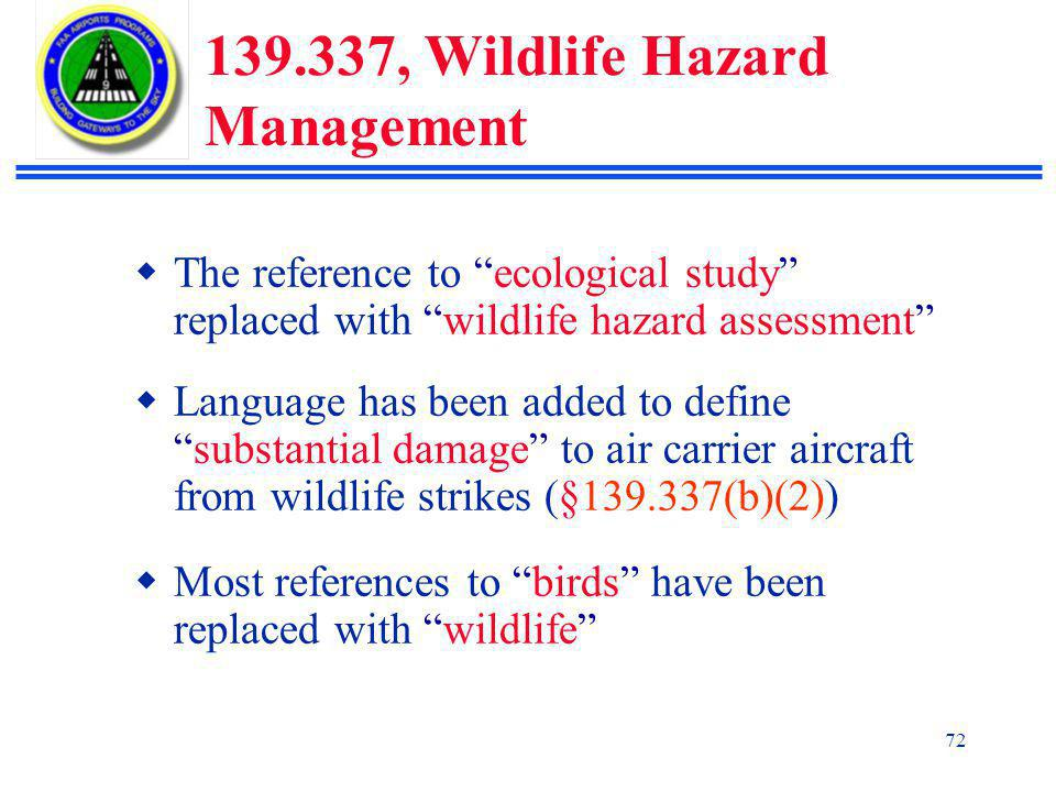 139.337, Wildlife Hazard Management