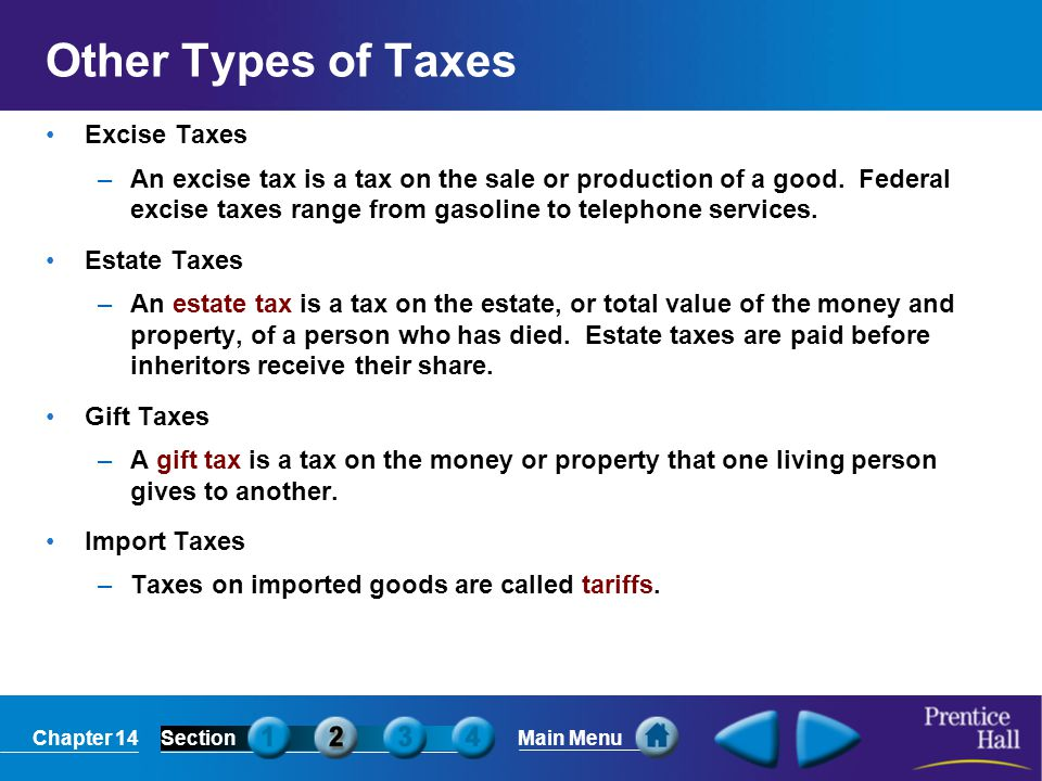 Other Types of Taxes Excise Taxes