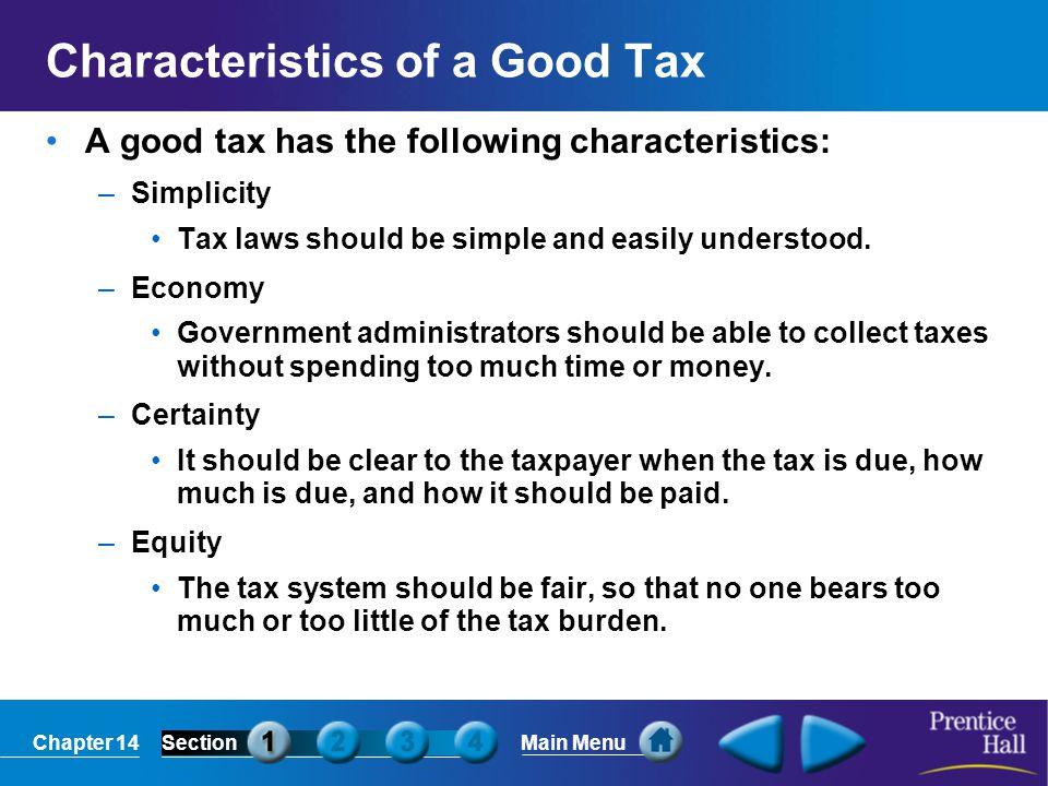 Characteristics of a Good Tax