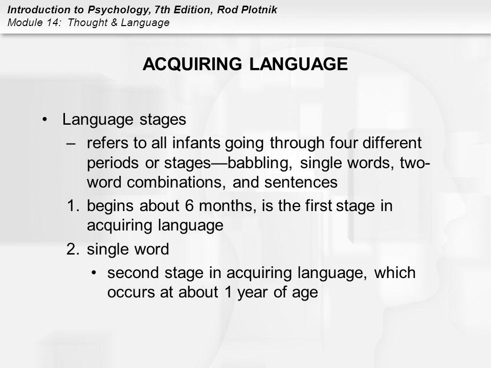 ACQUIRING LANGUAGE Language stages