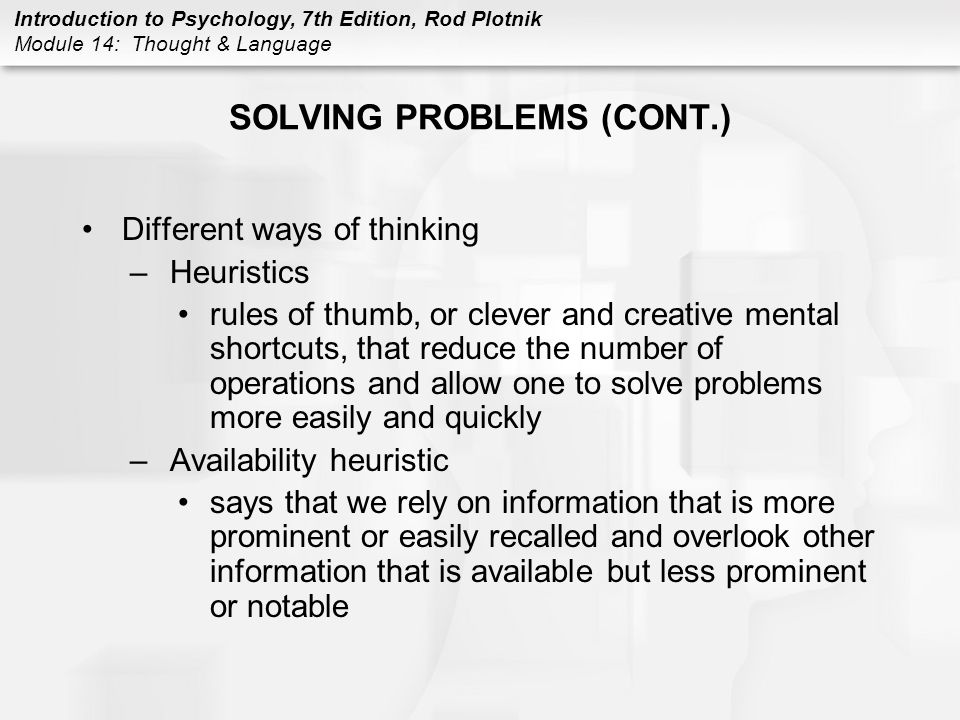 SOLVING PROBLEMS (CONT.)