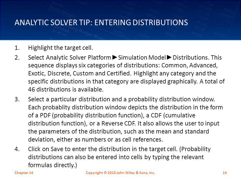 Analytic Solver Tip: Entering Distributions