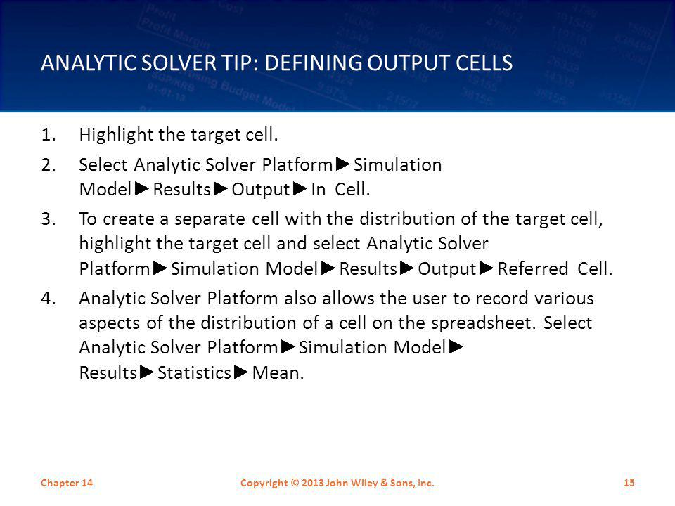 Analytic Solver Tip: Defining Output Cells
