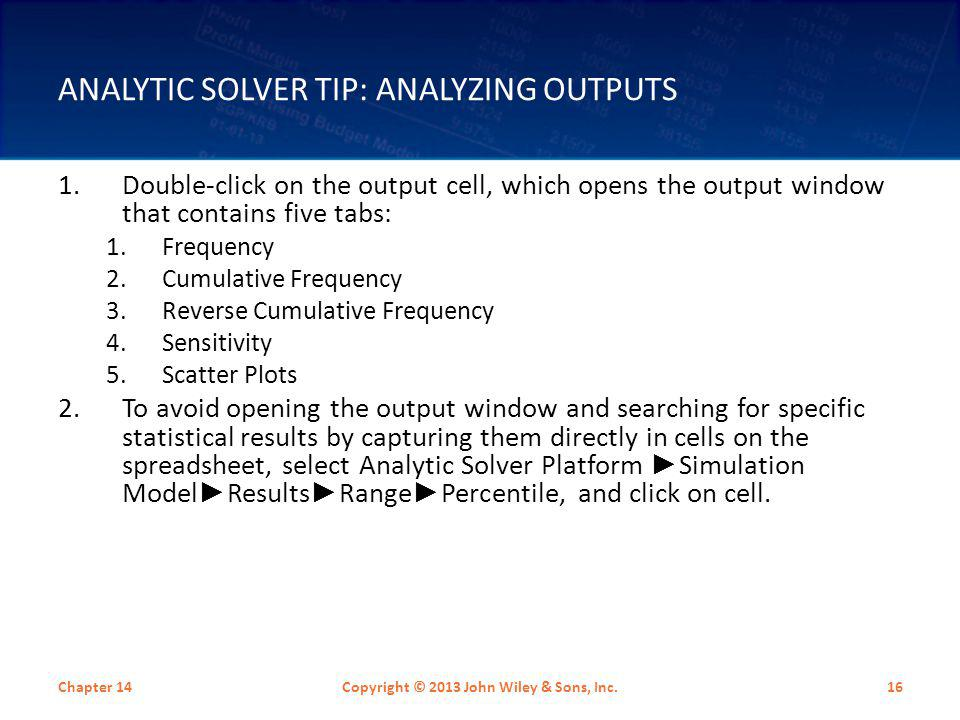 Analytic Solver Tip: Analyzing Outputs
