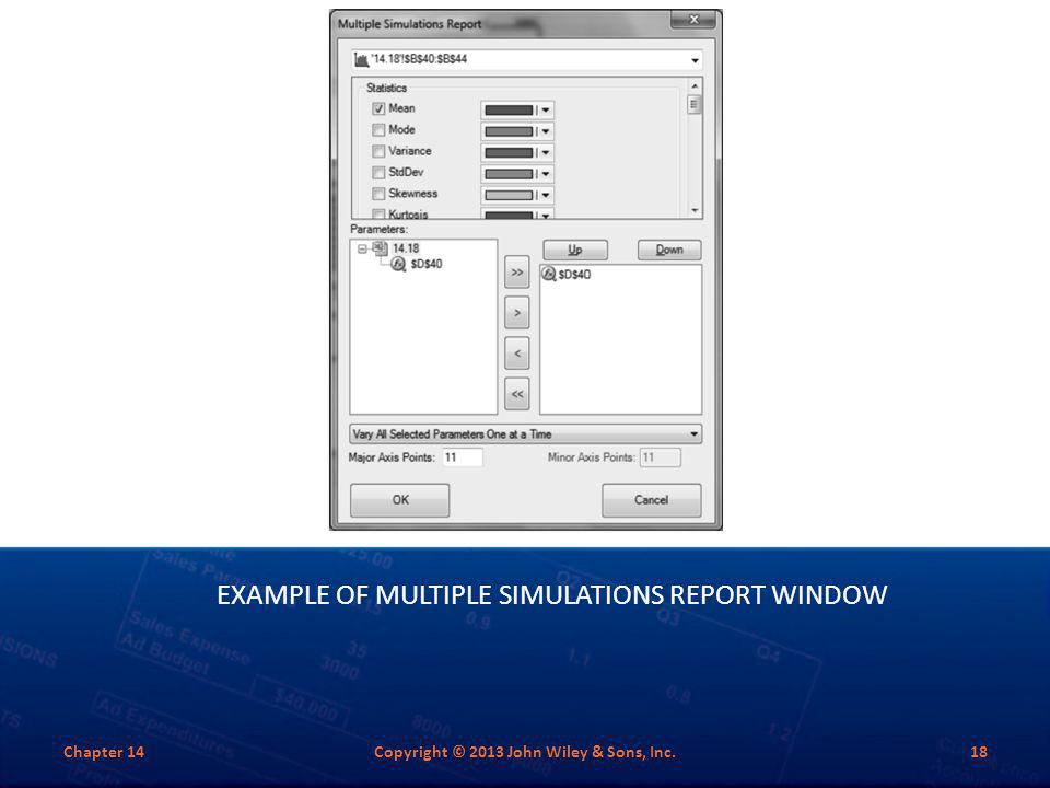 Example of Multiple Simulations Report Window