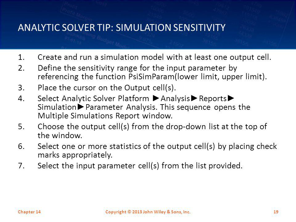 Analytic Solver Tip: Simulation Sensitivity
