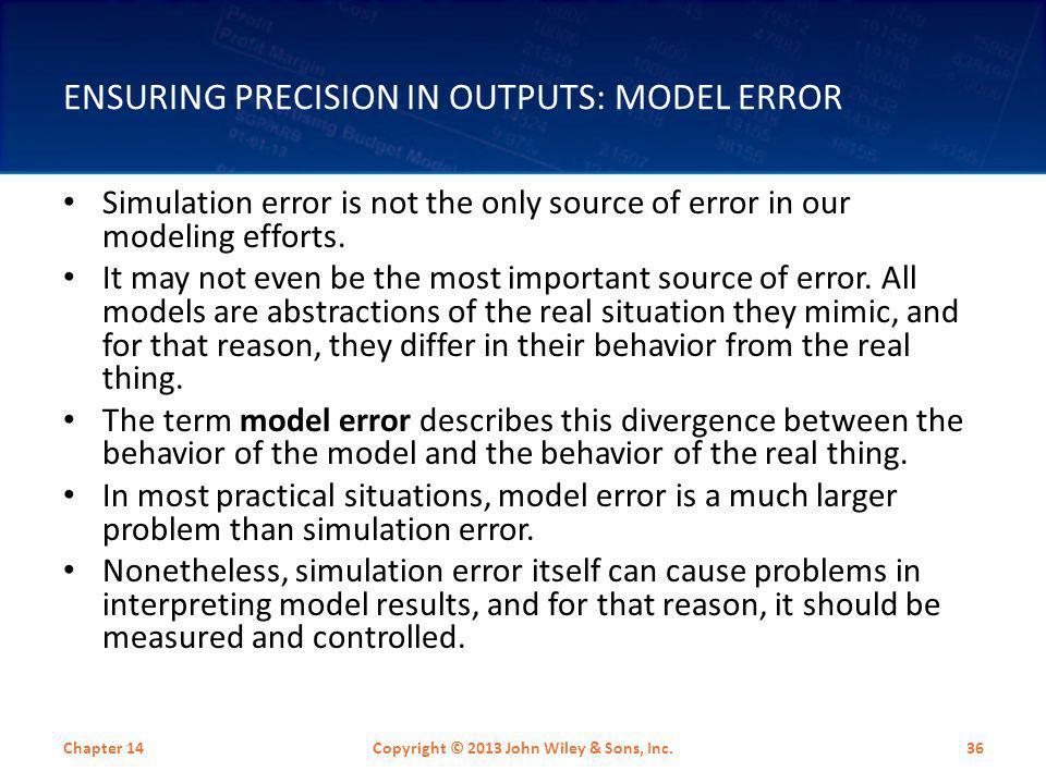Ensuring Precision in Outputs: Model Error