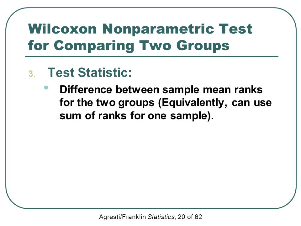 Wilcoxon Nonparametric Test for Comparing Two Groups