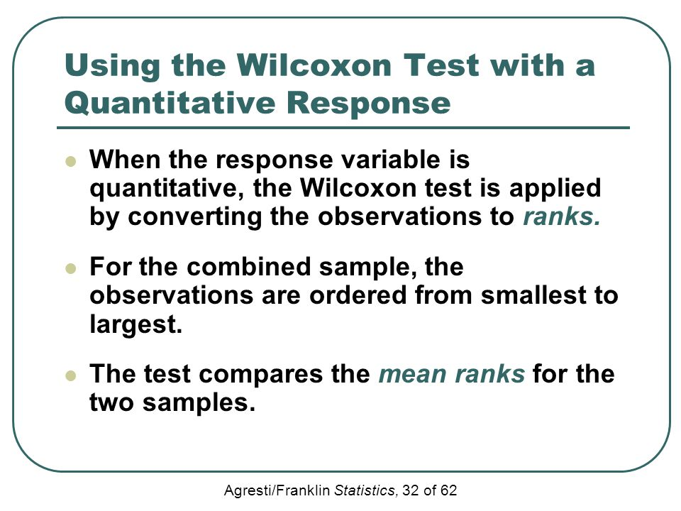 Using the Wilcoxon Test with a Quantitative Response