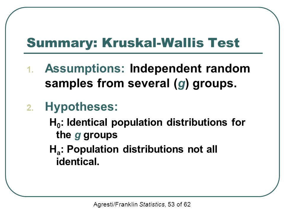 Summary: Kruskal-Wallis Test