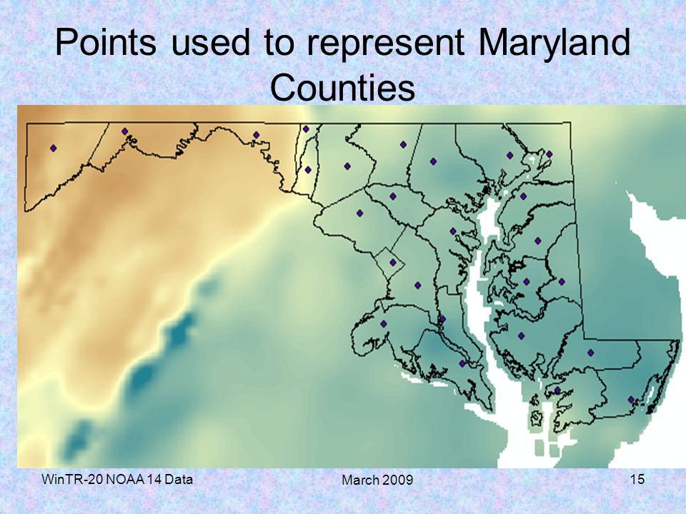 Points used to represent Maryland Counties