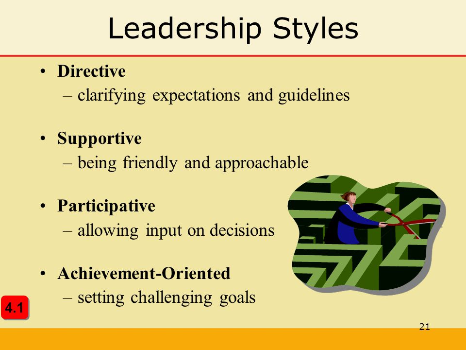Leadership Styles Directive clarifying expectations and guidelines
