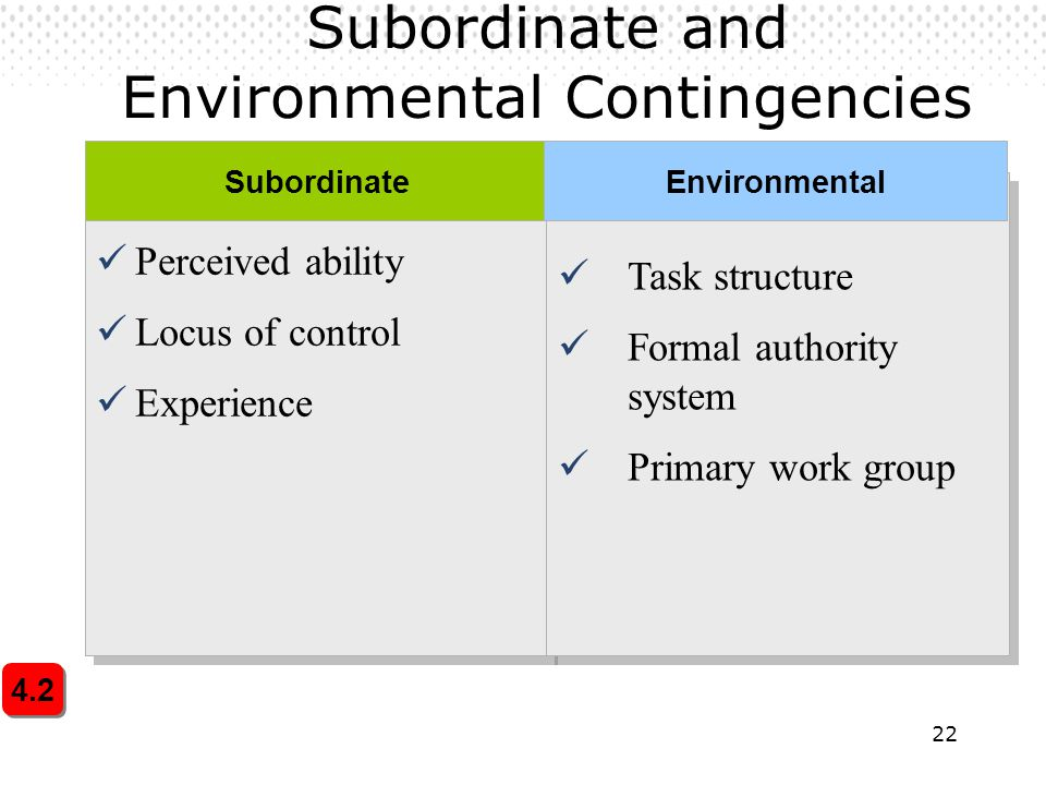 Subordinate and Environmental Contingencies