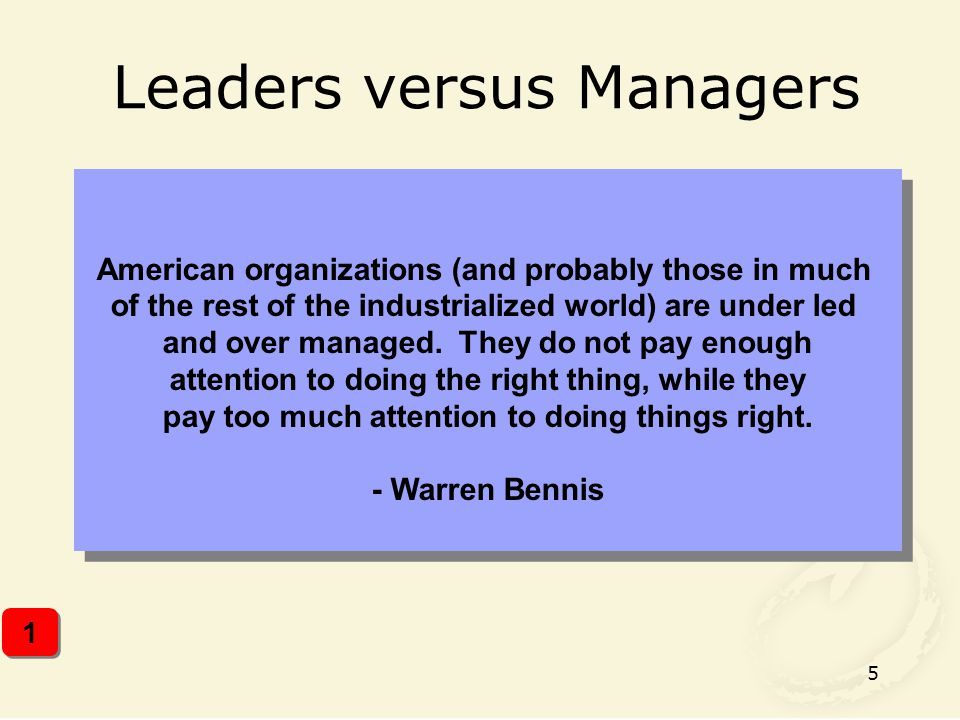 Leaders versus Managers