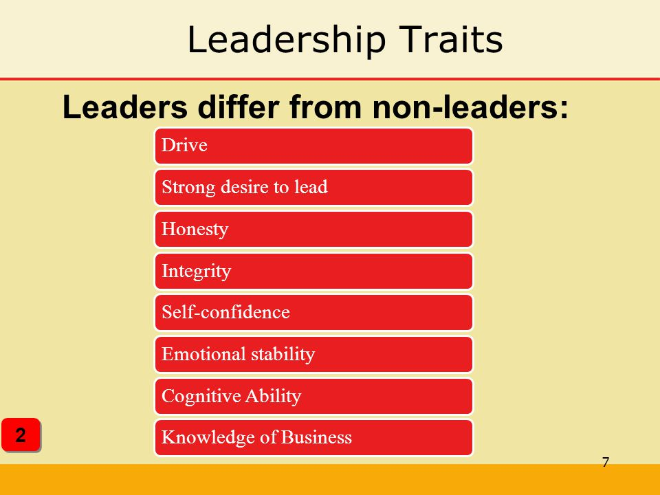 Leadership Traits Leaders differ from non-leaders: 2 Drive