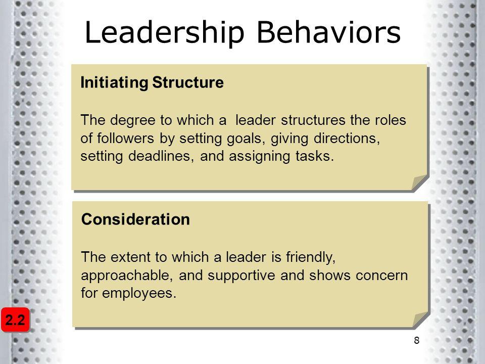 Leadership Behaviors Initiating Structure Consideration