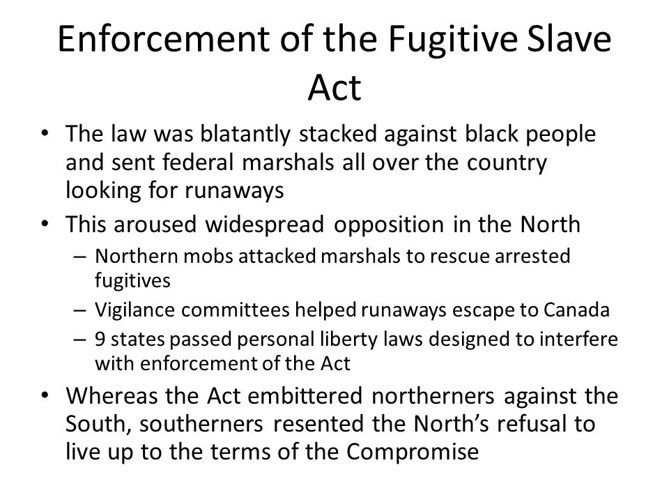 Enforcement of the Fugitive Slave Act