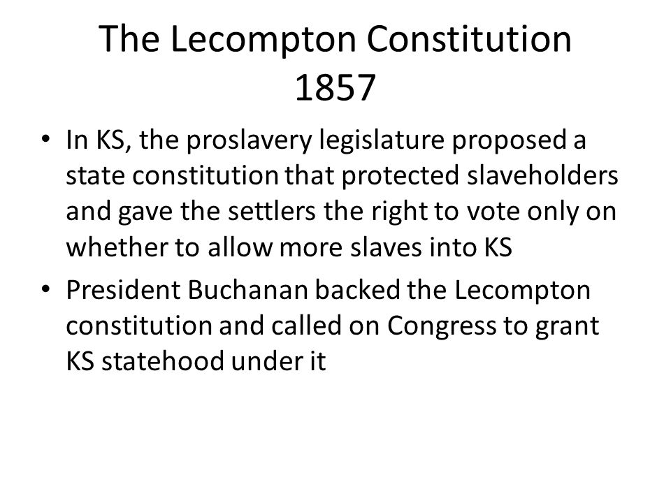 The Lecompton Constitution 1857