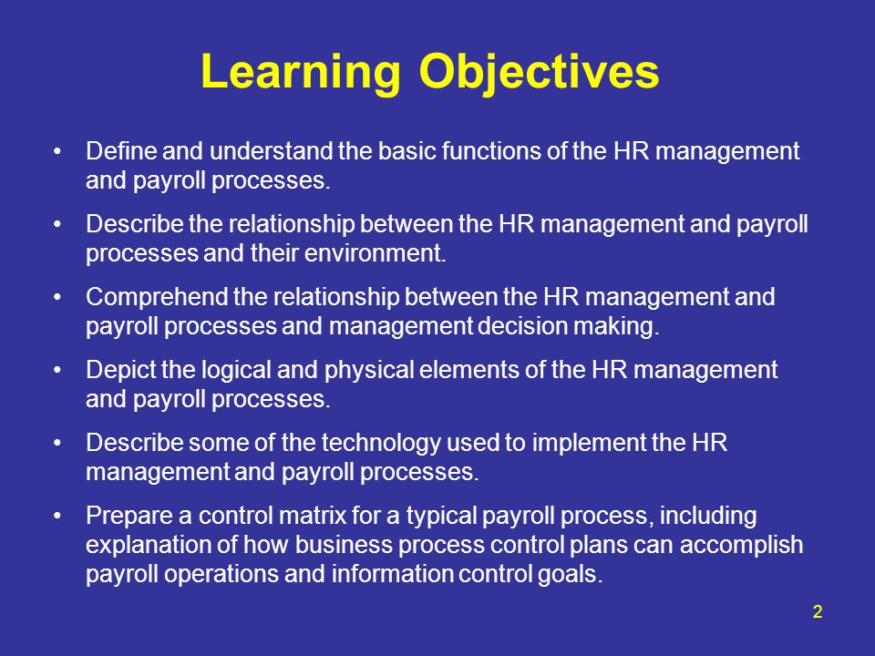 Learning Objectives Define and understand the basic functions of the HR management and payroll processes.