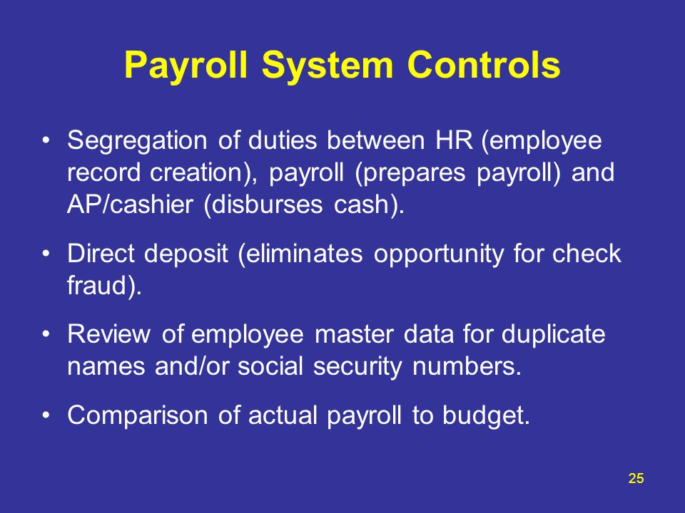 Payroll System Controls