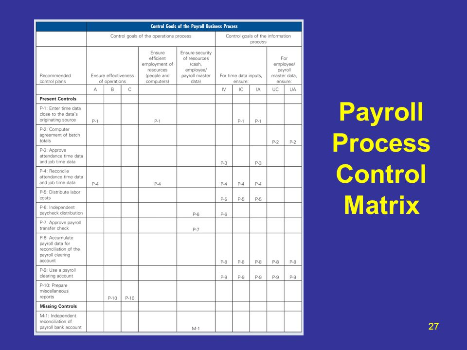 payroll process payroll process control matrix. Black Bedroom Furniture Sets. Home Design Ideas