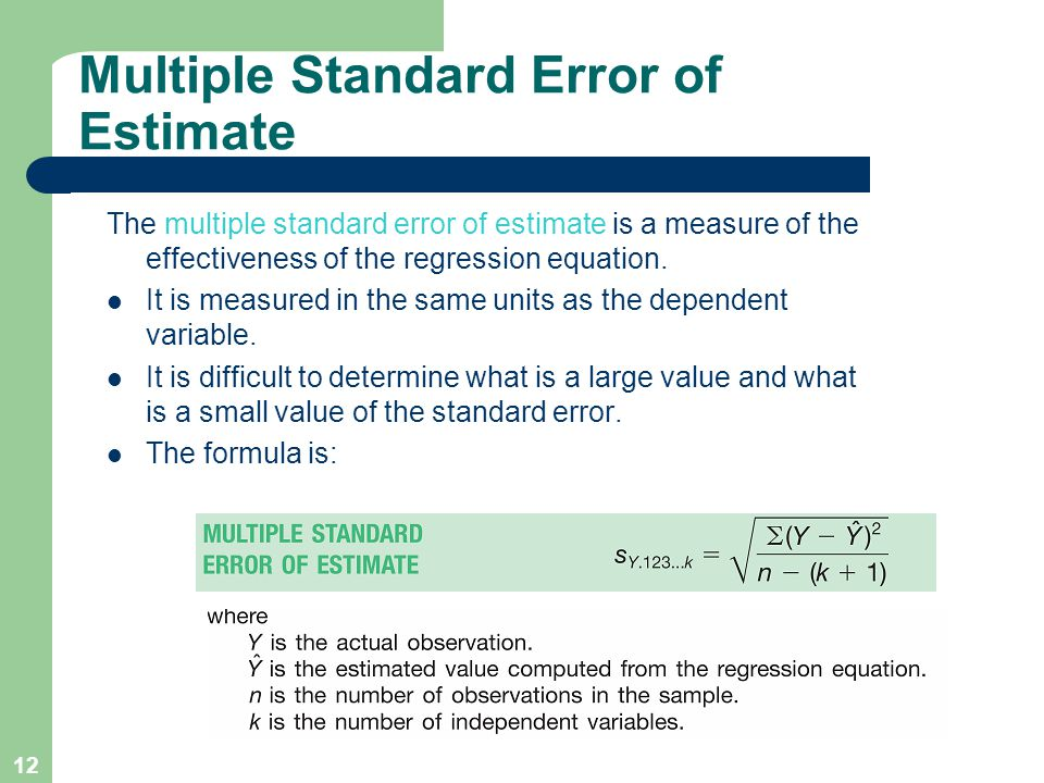 Multiple Standard Error of Estimate