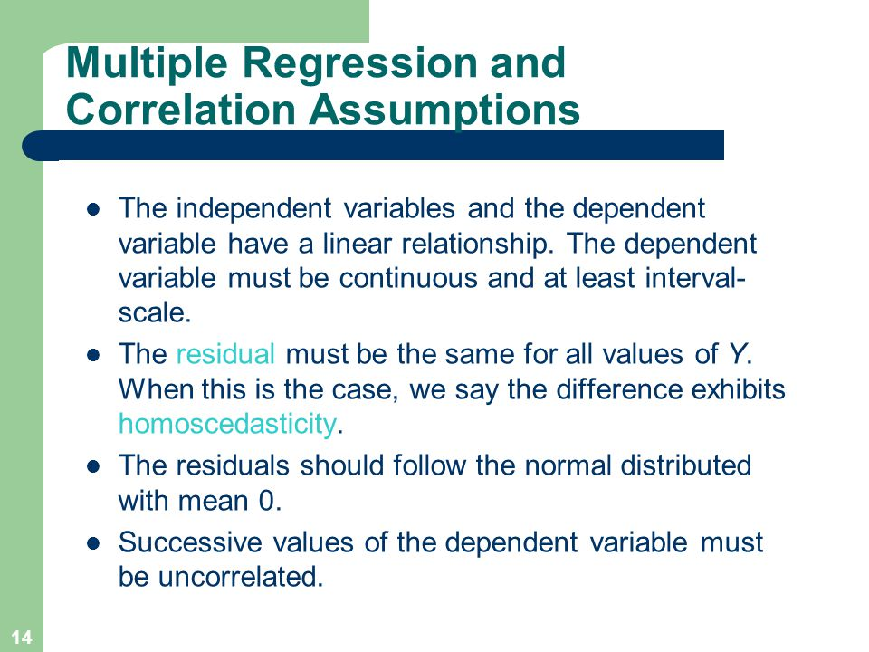 Multiple Regression and Correlation Assumptions