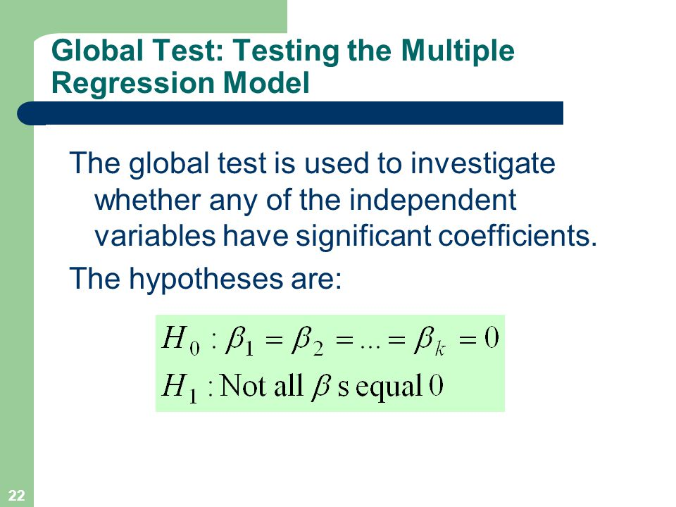 Global Test: Testing the Multiple Regression Model