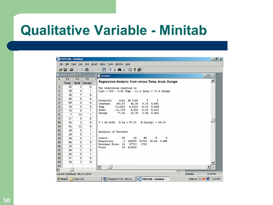 Qualitative Variable - Minitab