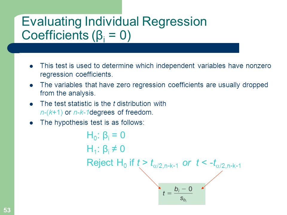Evaluating Individual Regression Coefficients (βi = 0)