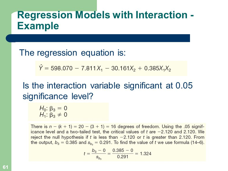 Regression Models with Interaction - Example