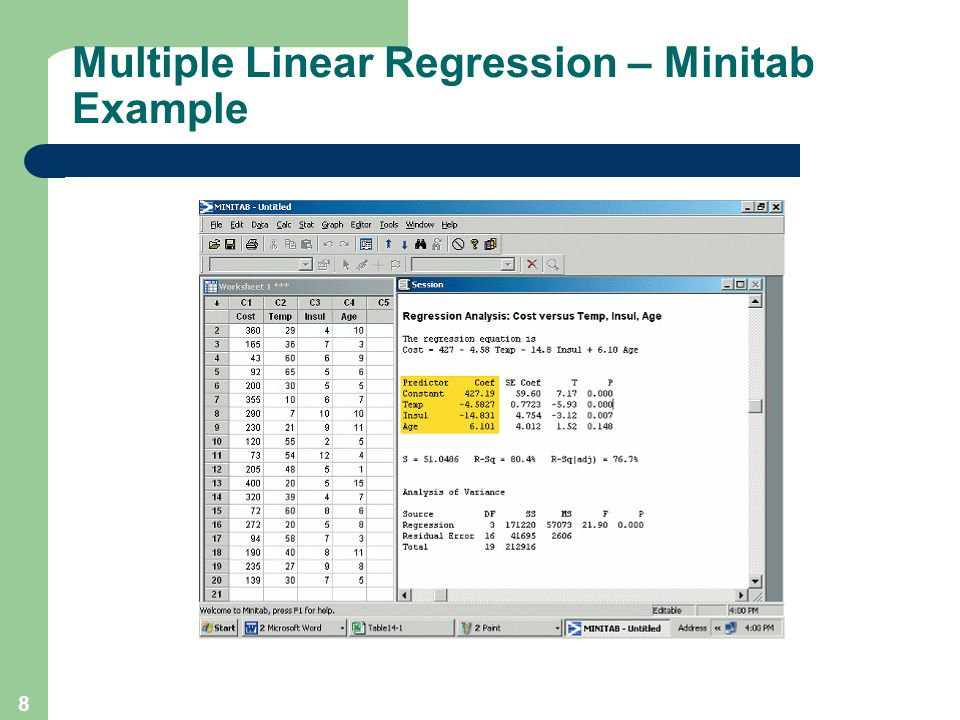 Multiple Linear Regression – Minitab Example