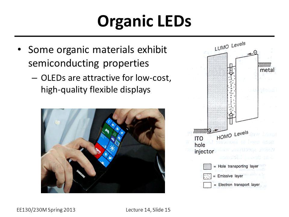 Organic LEDs Some organic materials exhibit semiconducting properties