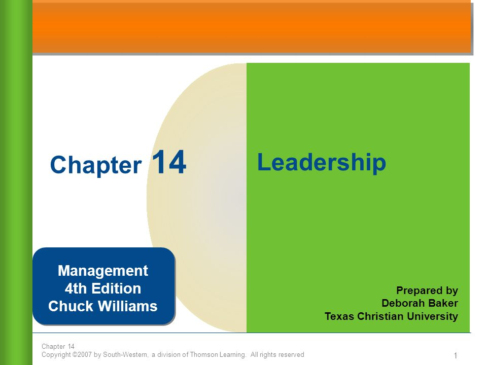 Chapter 14 Leadership Management 4th Edition Chuck Williams