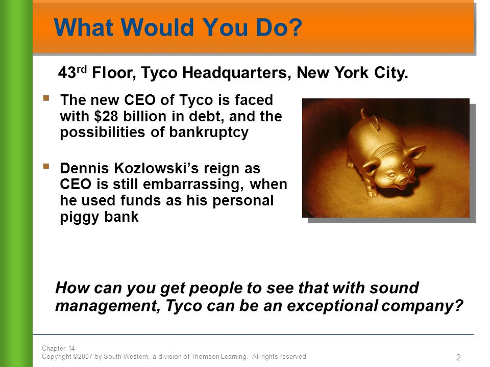 What Would You Do 43rd Floor, Tyco Headquarters, New York City.