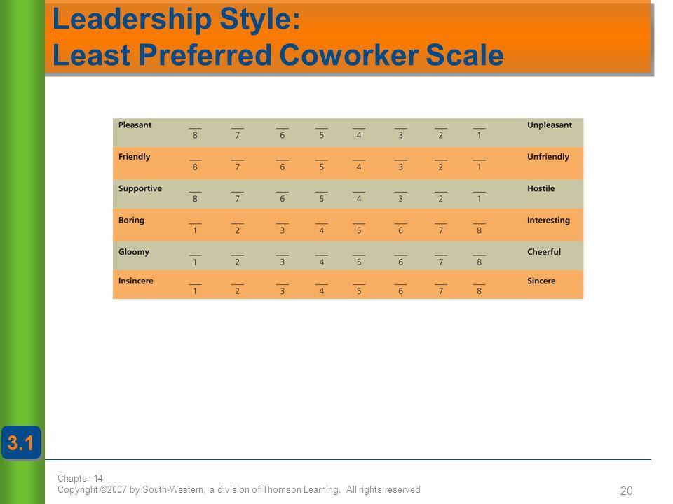 Leadership Style: Least Preferred Coworker Scale