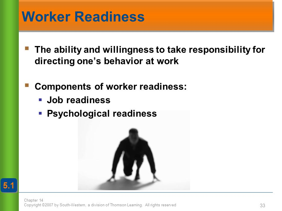 Worker Readiness The ability and willingness to take responsibility for directing one's behavior at work.
