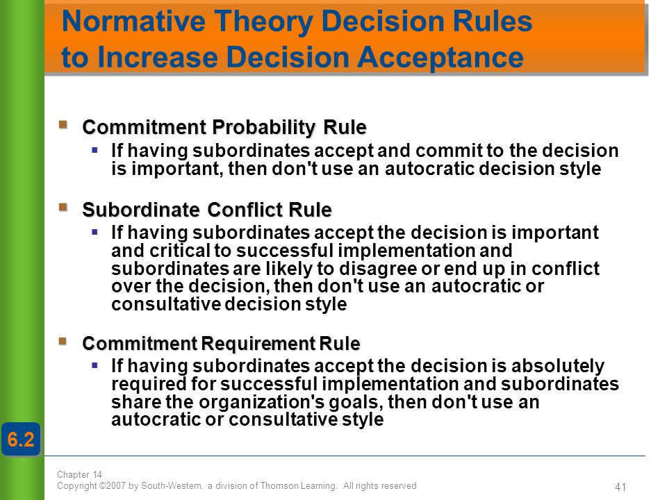 Normative Theory Decision Rules to Increase Decision Acceptance