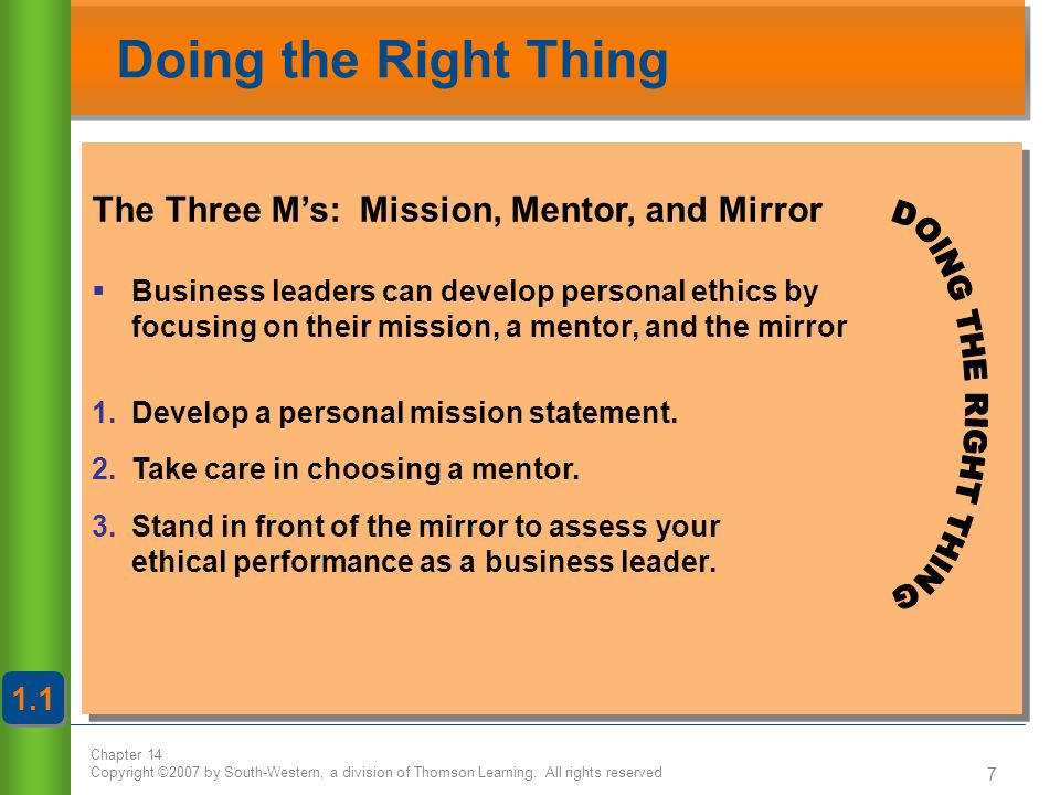 Doing the Right Thing The Three M's: Mission, Mentor, and Mirror 1.1
