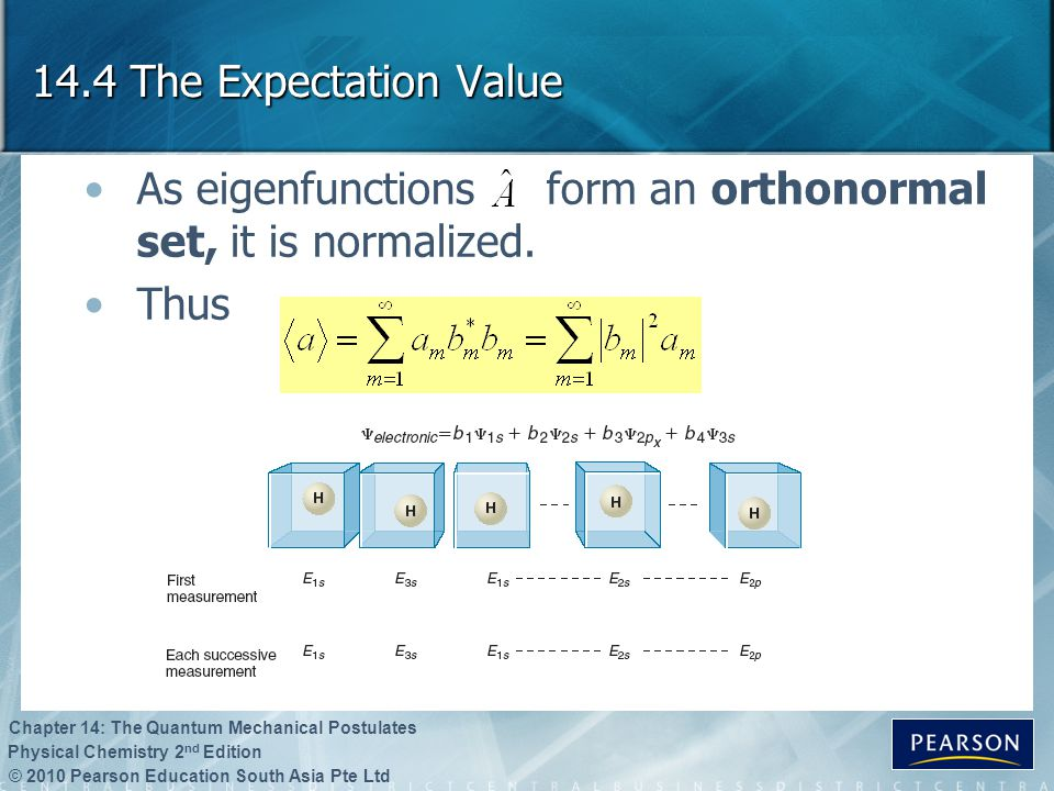14.4 The Expectation Value As eigenfunctions form an orthonormal set, it is normalized. Thus