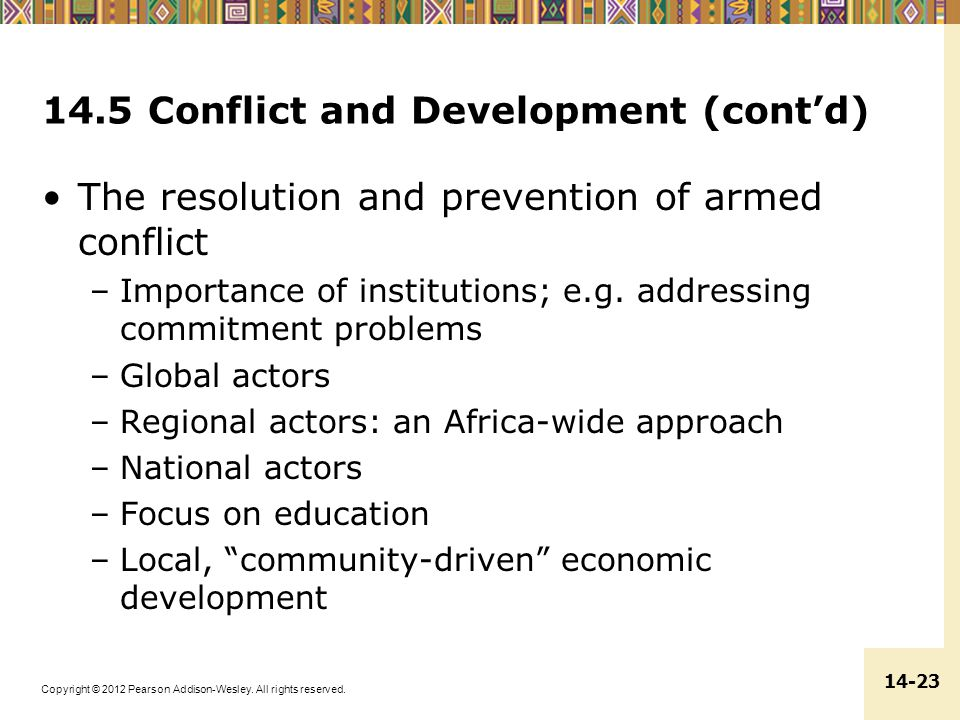 14.5 Conflict and Development (cont'd)