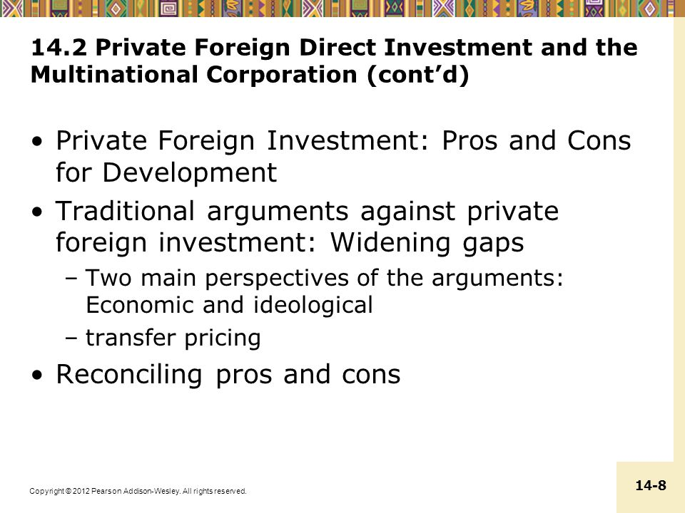 Private Foreign Investment: Pros and Cons for Development
