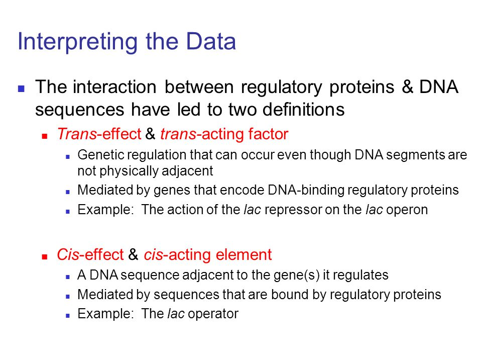 Interpreting the Data The interaction between regulatory proteins & DNA sequences have led to two definitions.