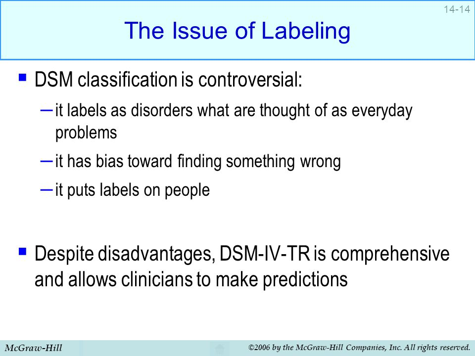 The Issue of Labeling DSM classification is controversial: