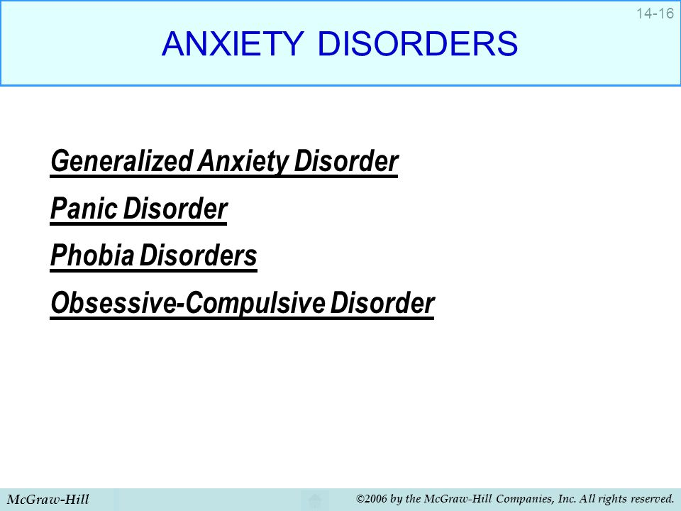 ANXIETY DISORDERS Generalized Anxiety Disorder Panic Disorder
