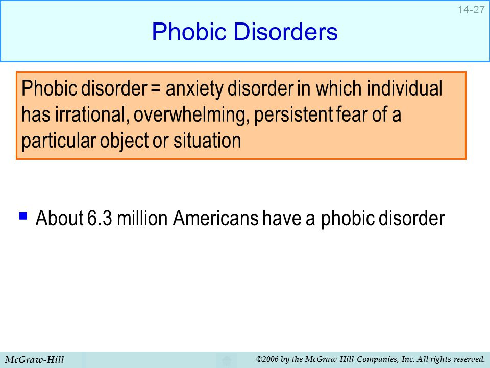Phobic Disorders About 6.3 million Americans have a phobic disorder.